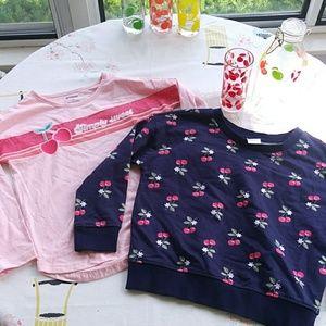 Gymboree cherry collection sweatshirt/tee